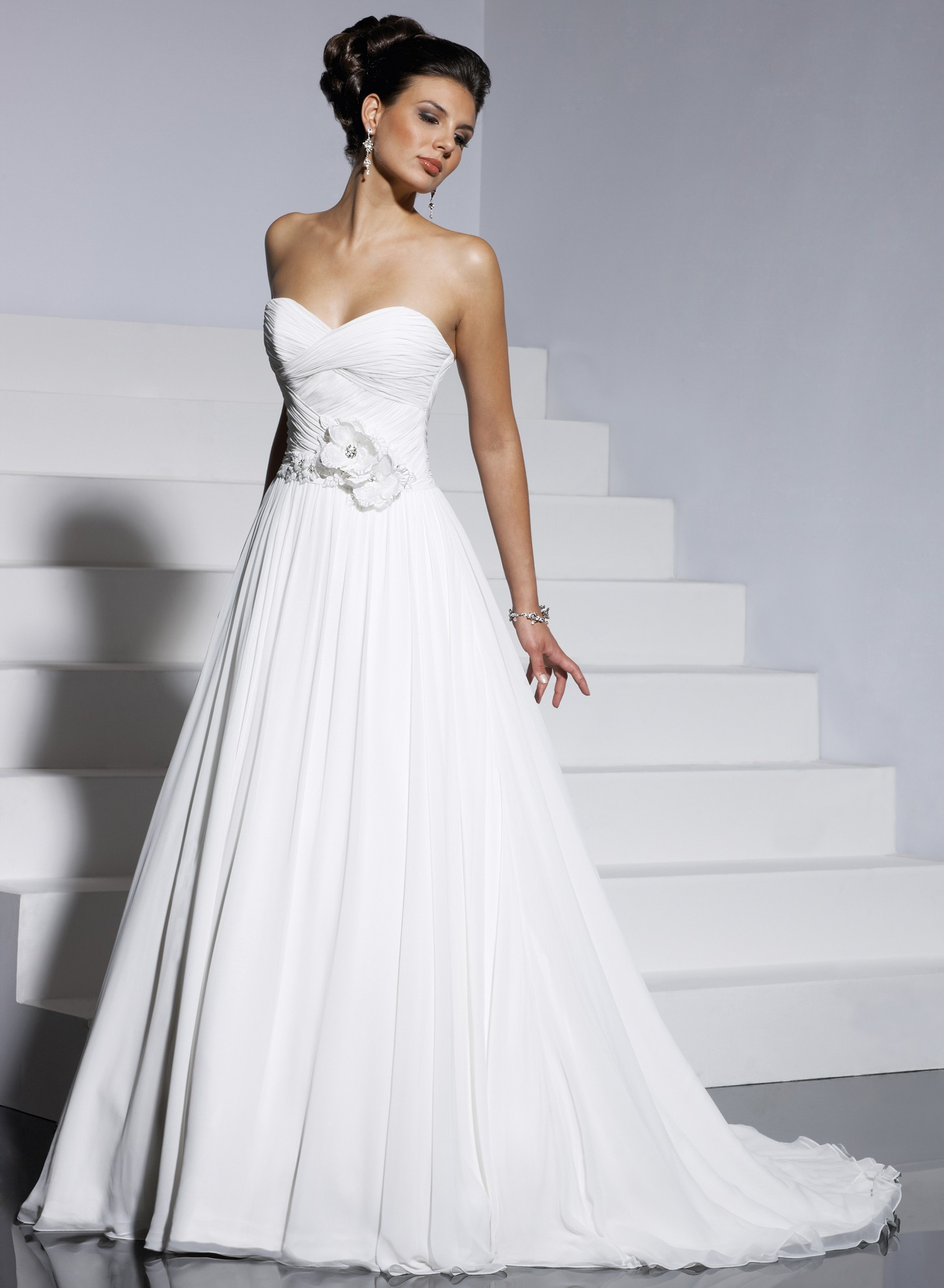 A Line Strapless Sweetheart Wedding Dress