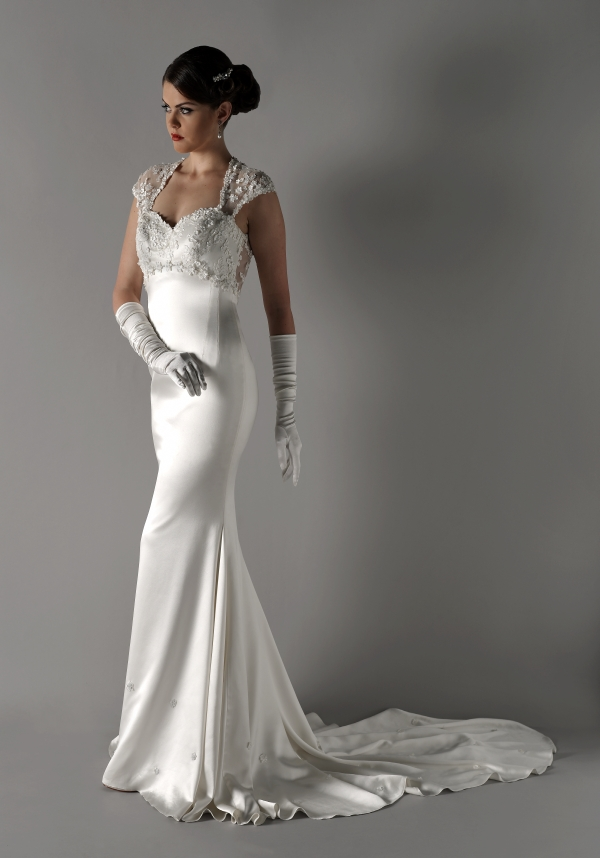 Kathy de stafford wedding dress bespoke satin fitted gown for Lace top silk bottom wedding dress