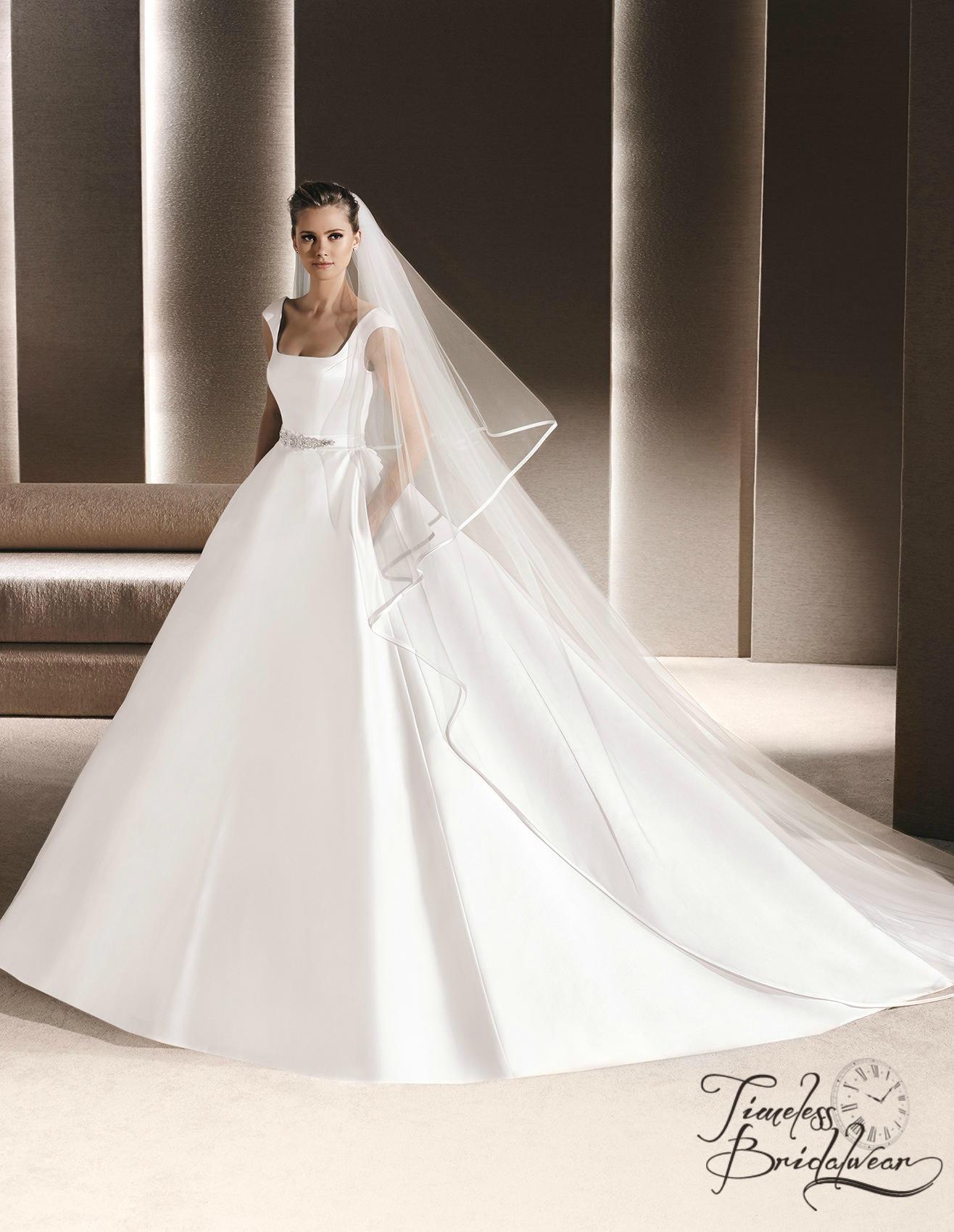 La Sposa Remio Wedding Dress A Line Satin Large Impressive Train
