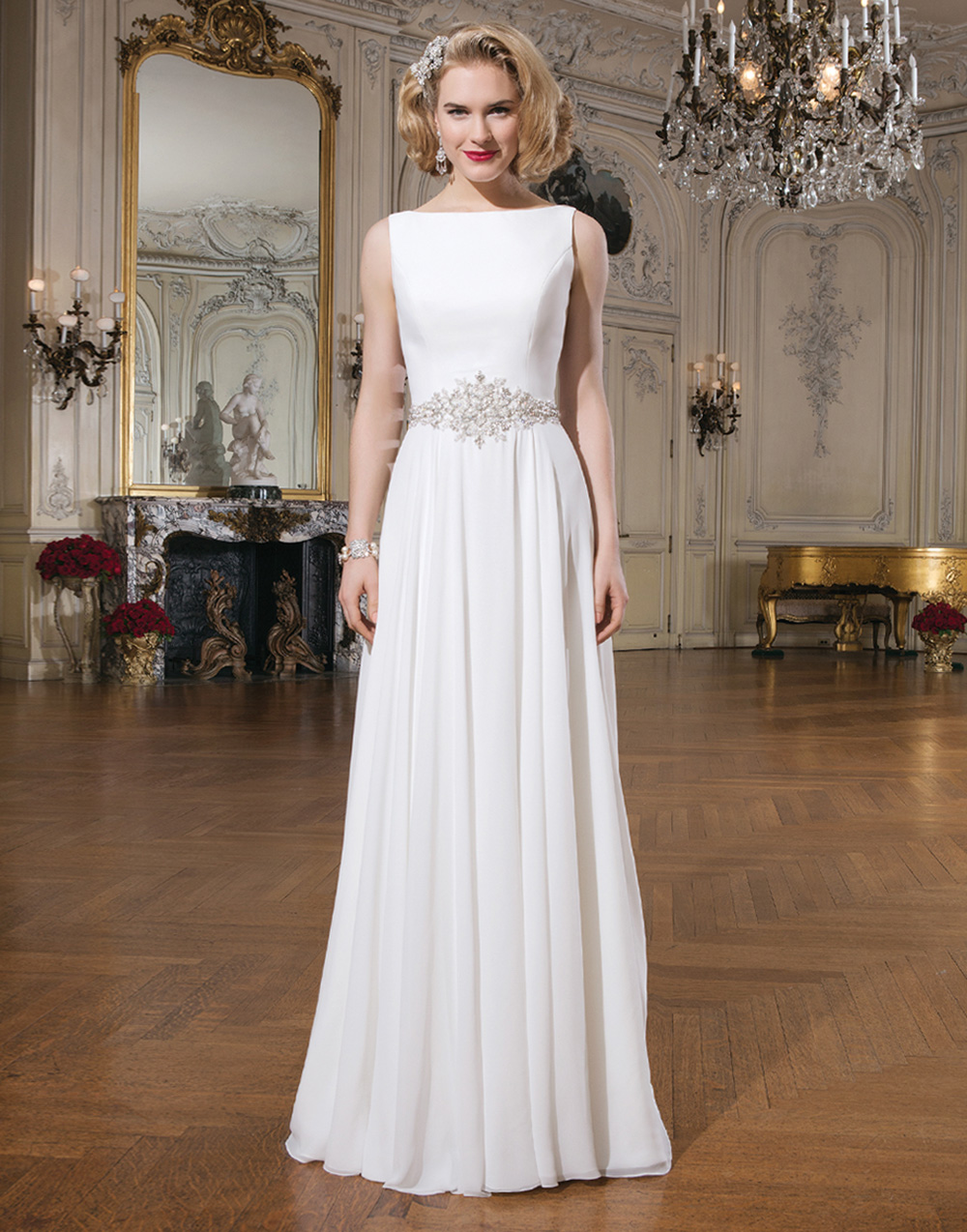 Justin alexander 8733 classic wedding dress chiffon for Maggie sottero grace kelly wedding dress
