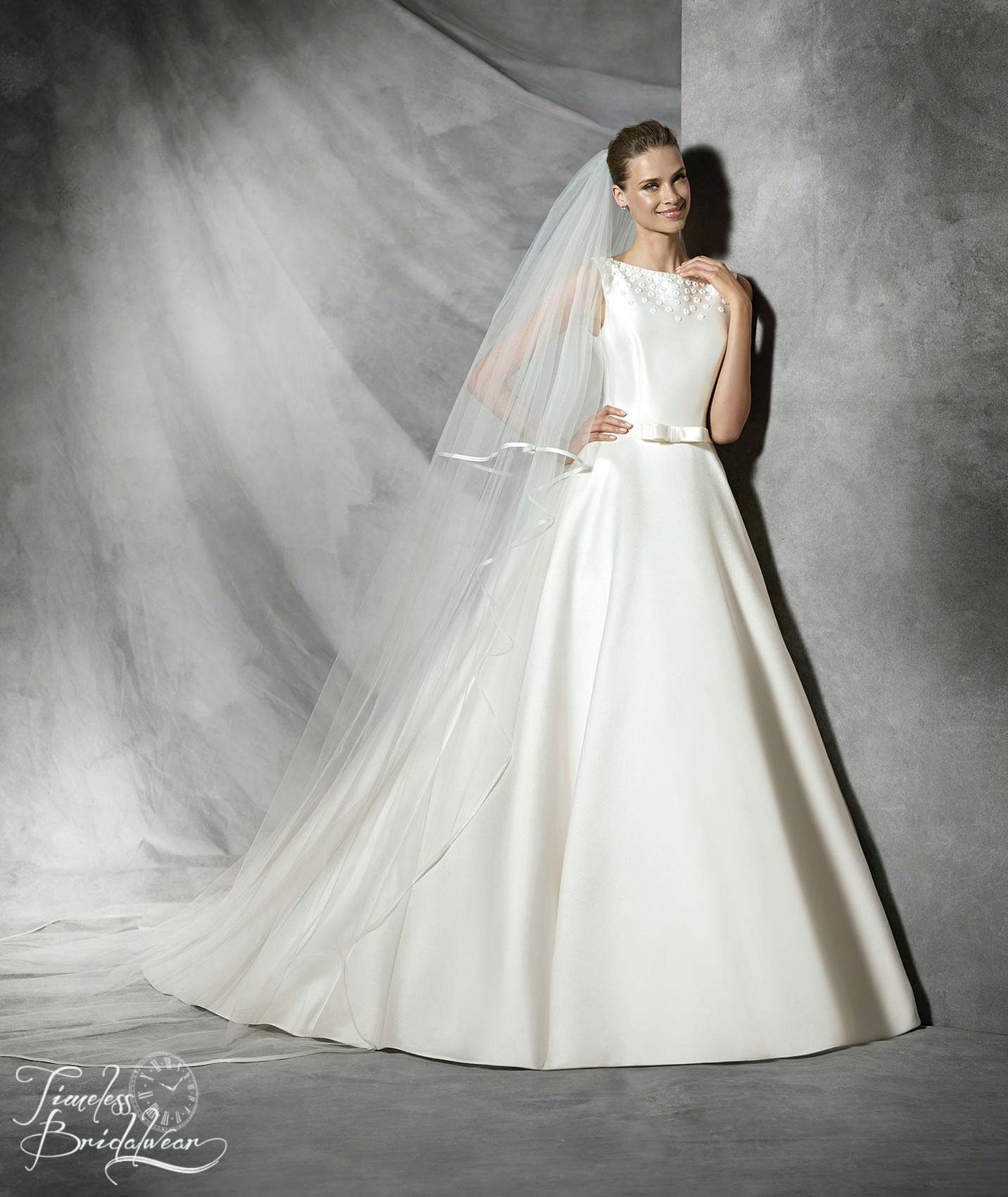 Pronovias Tresol | Mikado Silk Princess Wedding Dress | Bateau Neckline